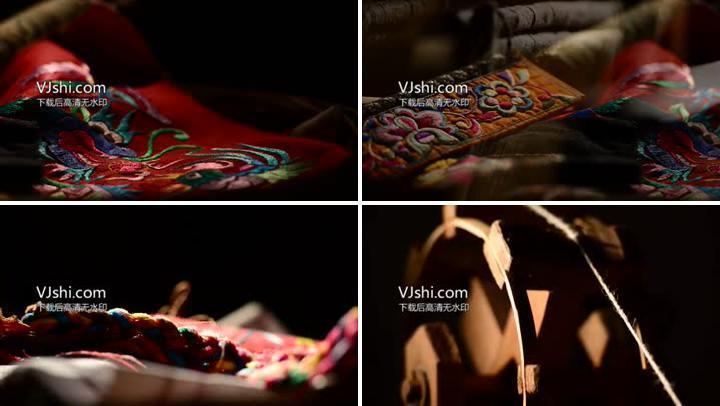 古老纺车、刺绣、针线