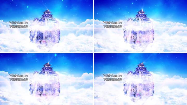 梦幻仙境天宫云层万丈光芒光效