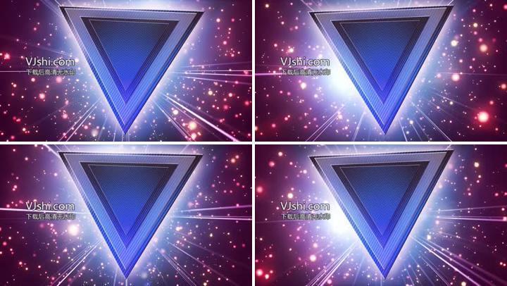 蓝光粒子闪烁倒三角高清视频素材
