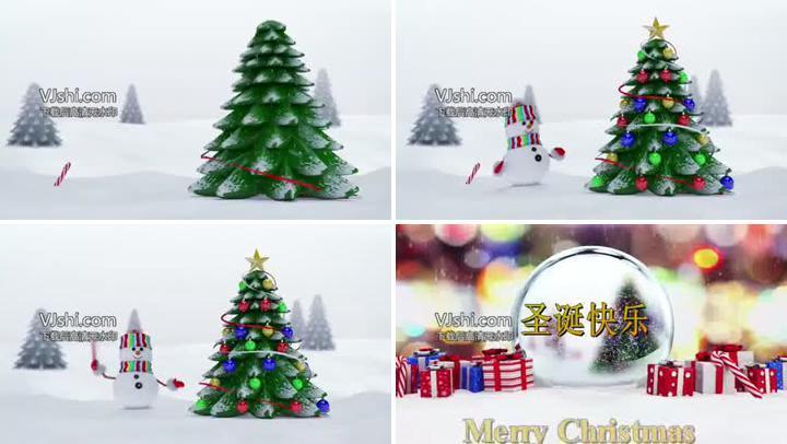 三维圣诞树雪人动画揭幕节日快乐开场片头