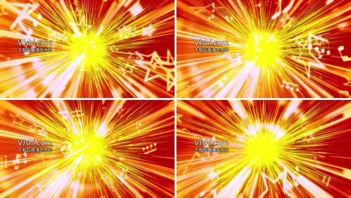 金光隧道线条星星音符穿梭动态LED背景