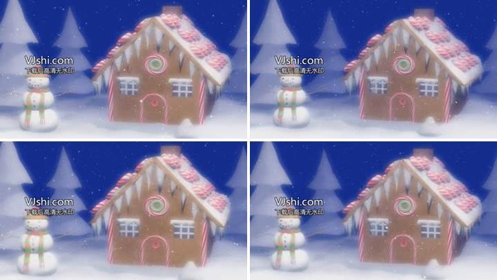 圣诞节房屋雪松雪人下雪LED视频素材