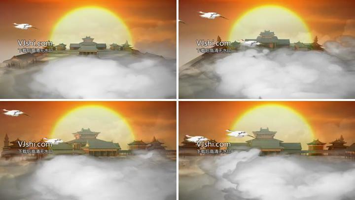 云雾缭绕仙鹤飞