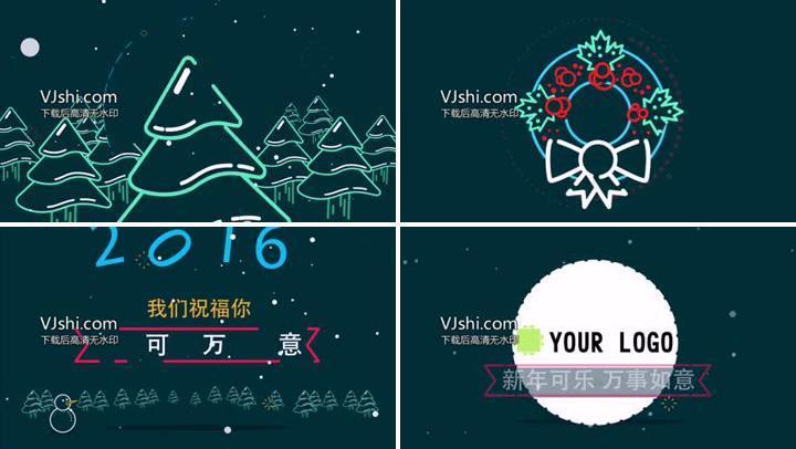 扁平化线条圣诞节创意MG动画片头