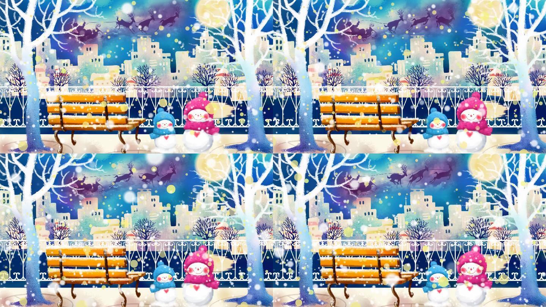 卡通浪漫圣诞街头