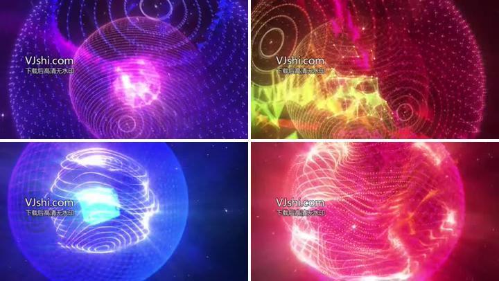 动感全息能源粒子光效球VJ素材有音乐