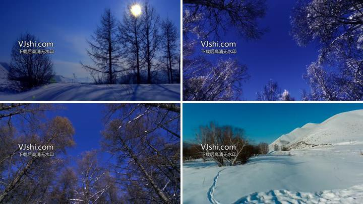 唯美雪景4k素材中国雪乡东北雪景
