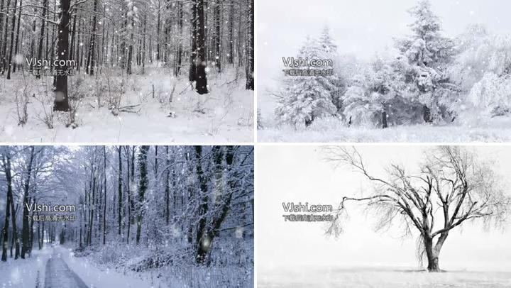 雪景大雪LED背景素材
