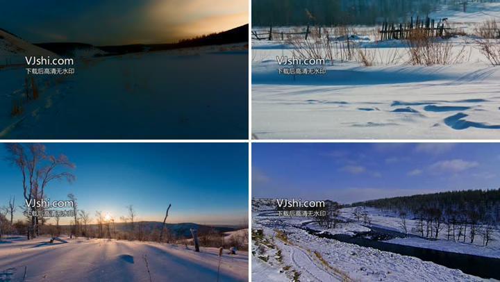 唯美雪景延时4k素材中国雪乡
