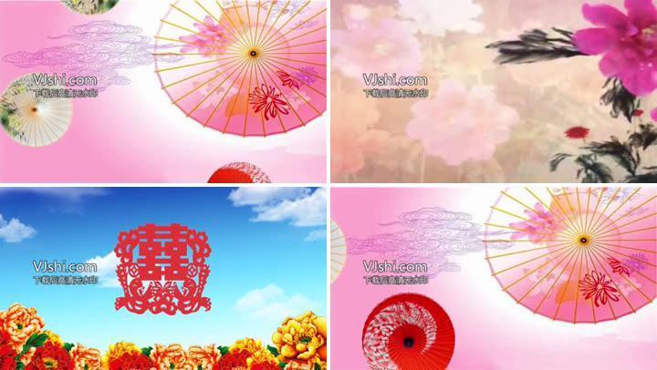 《伞红春绿》舞蹈花伞背景视频
