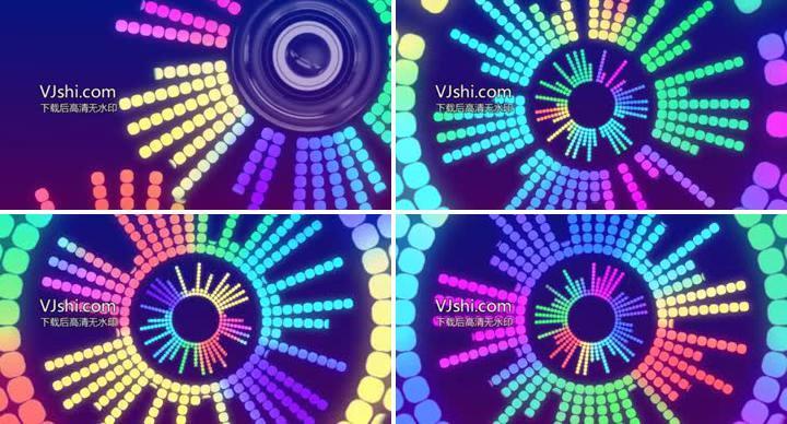动感音乐舞台背景——五彩喇叭跳动灯光秀