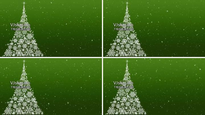 4K圣诞粒子雪花绿色背景