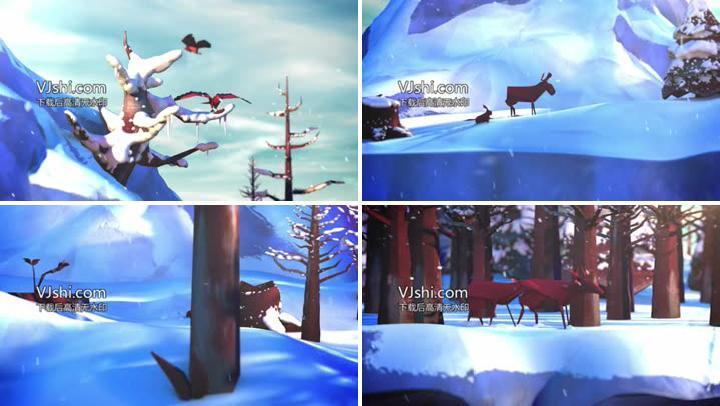 圣诞节冬季唯美树林小动物