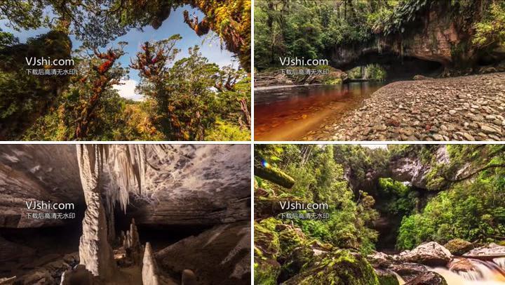大自然风景湖面雨林岩洞延时摄影