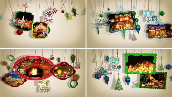 悬挂掉落并摇摆展示的圣诞节相册片头