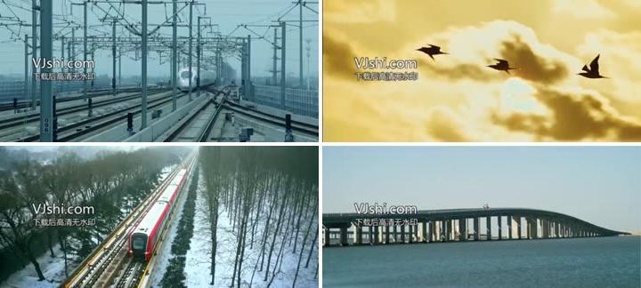 建筑建设大桥高铁车流边疆宣传片剪辑素材