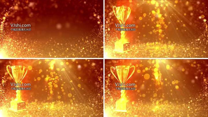 颁奖视频素材橙色金杯奖杯舞台视频背景