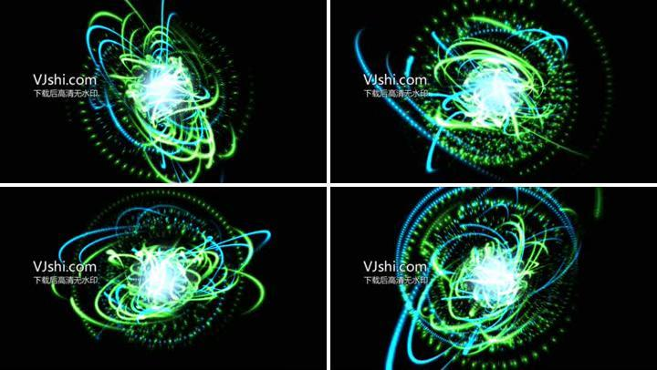 绿色粒子线条缠绕旋转4K素材