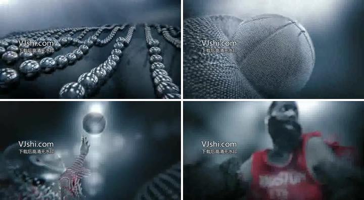 金属球演绎篮球体育视频背景