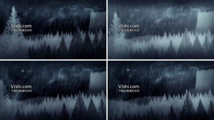 诡异森林下雨的夜动画