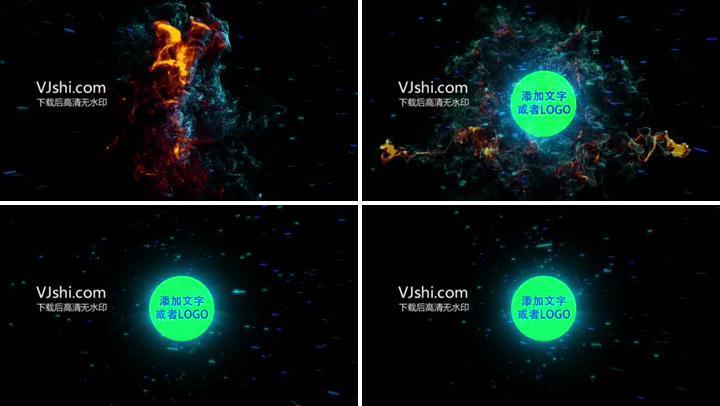 蓝色光效粒子撞击爆炸LOGO演绎标志片头