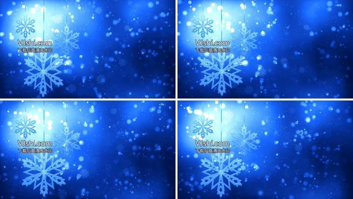 圣诞节新年雪花循环背景