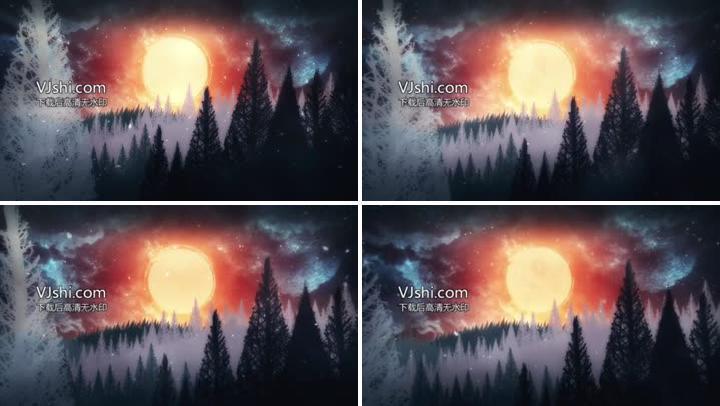 冬季下雪森林太阳升起动画