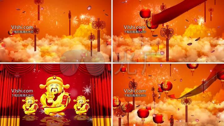 缤纷喜庆典雅新年气息中国结等咯红绸巾飞舞