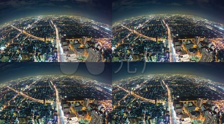 4K高清超广角俯瞰繁华都市夜景