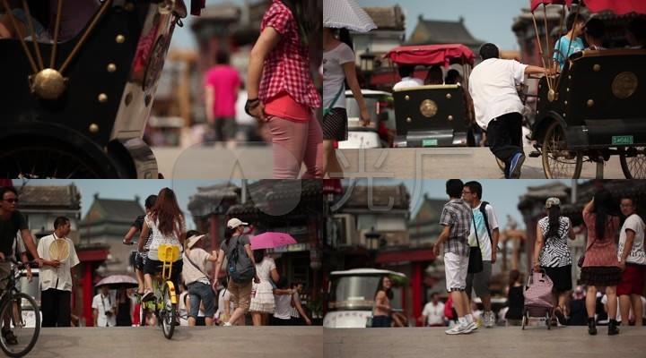 街头行人北京钟鼓楼后海一带