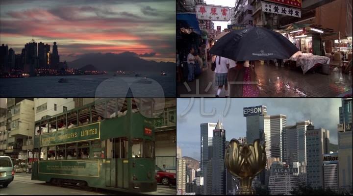 香港街头百姓生活鸟瞰都市