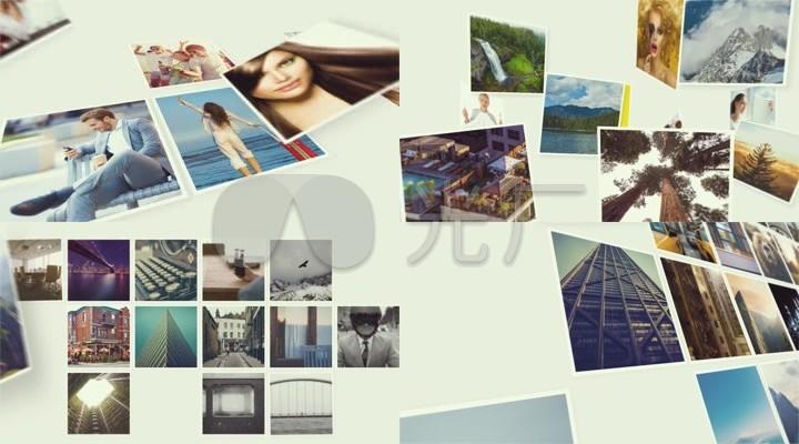干净简洁多照片拼接照片图片汇聚ae模版