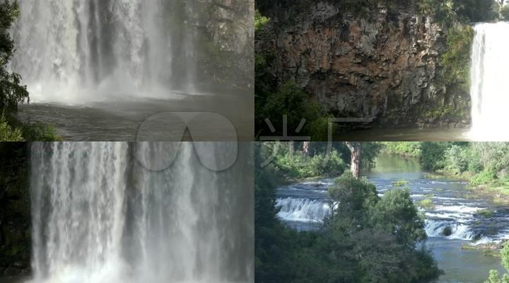 [4K]实拍山间大瀑布自然风景