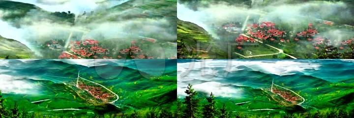 烟雾缭绕的茶山丘陵延时拍摄高清视频