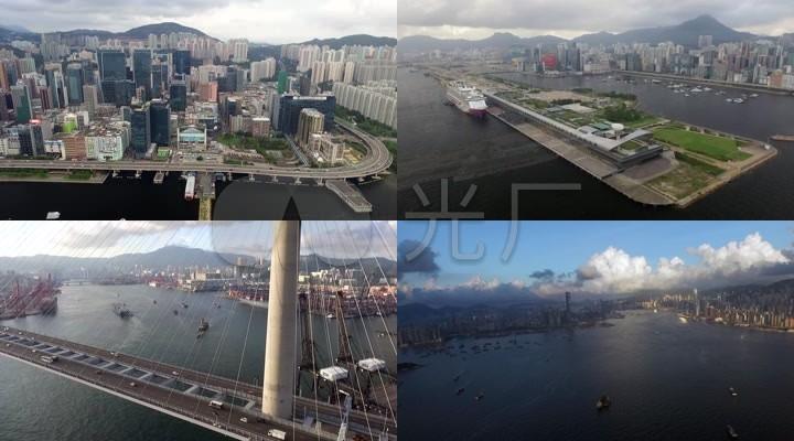 航拍香港启德轮渡码头船舶沿岸10426