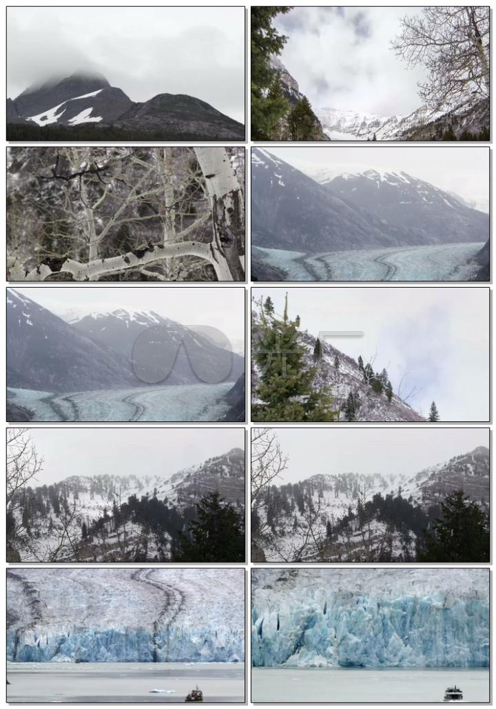 冬天雪山冰川4K高清视频