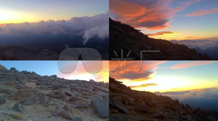 山顶实拍夕阳云海