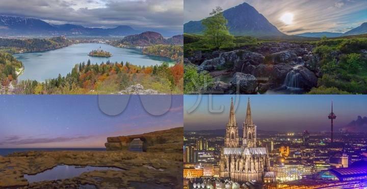 欧洲旅游圣地实拍延时摄影