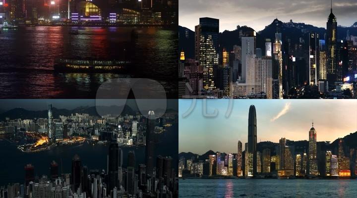 流水浮灯-香港夜景延时摄影