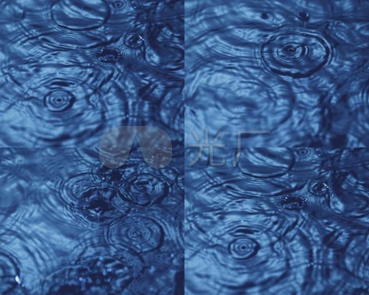 下雨水珠滴落水面涟漪波纹三维动画