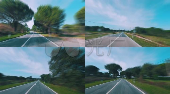 快速奔驰在公路