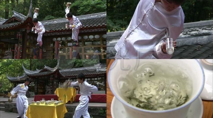高清实拍长嘴壶茶艺冲茶茶水茶文化