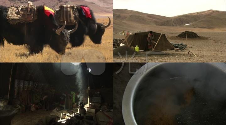 西藏高原牦牛藏民生活煮茶喝茶藏族小孩