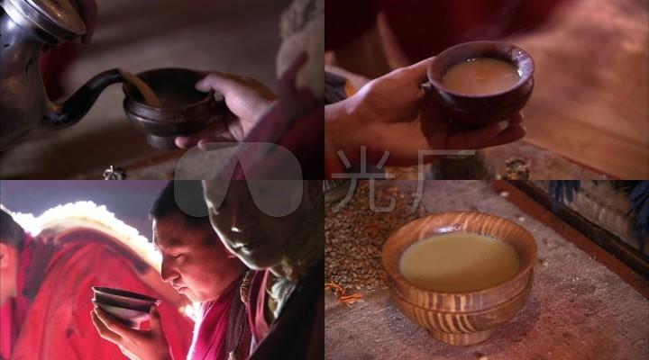 高清实拍西藏喇嘛和尚吃早点喝酥油茶