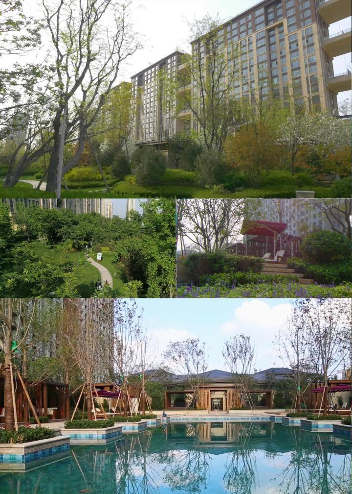 航拍房地产小区楼盘绿化环境视频