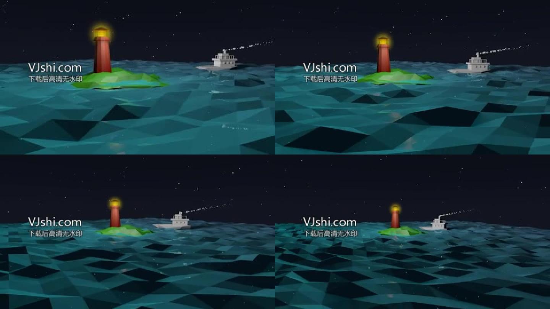 低面建模轮船灯塔海洋