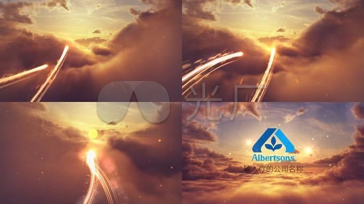 会声会影大气星空光效汇聚logo模板