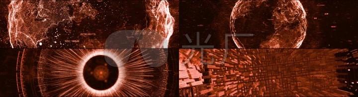大气黄金金属3dmapping全息素材