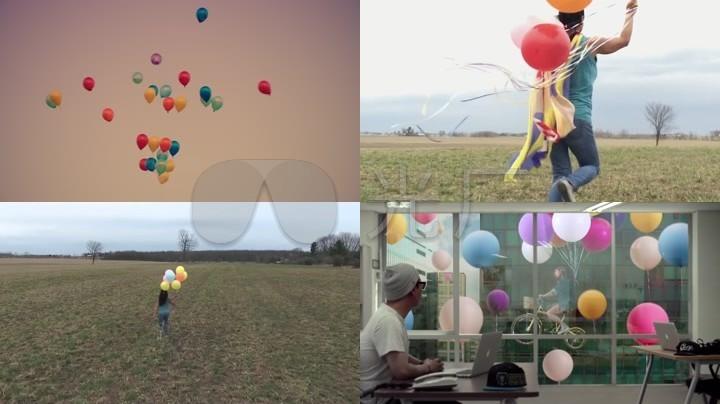 少女与气球一组
