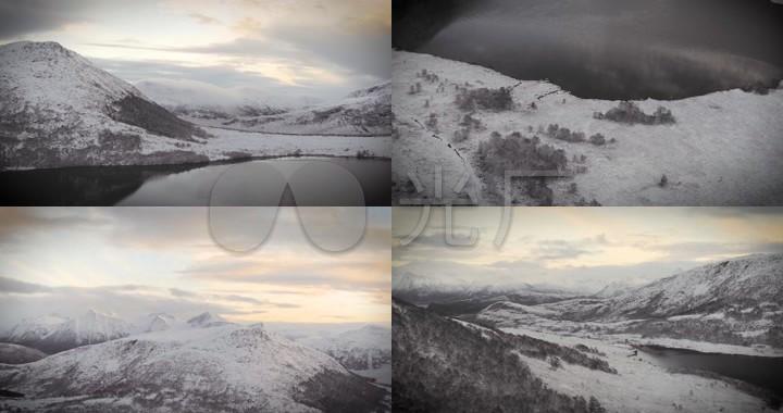 冬季雪山深林山脉航拍
